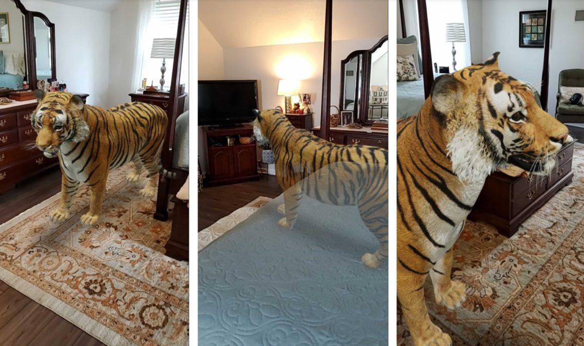 составное изображение тигра