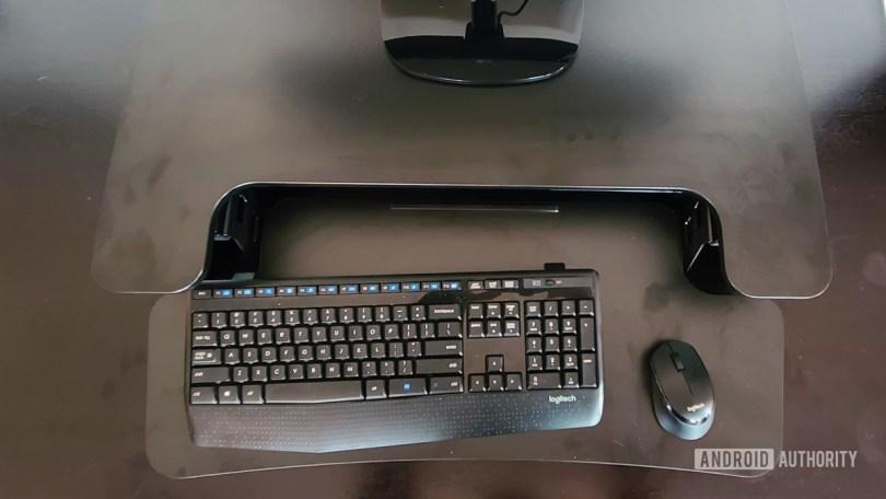 FlexiSpot M7B Review Standing Desk Converter Keyboard Room
