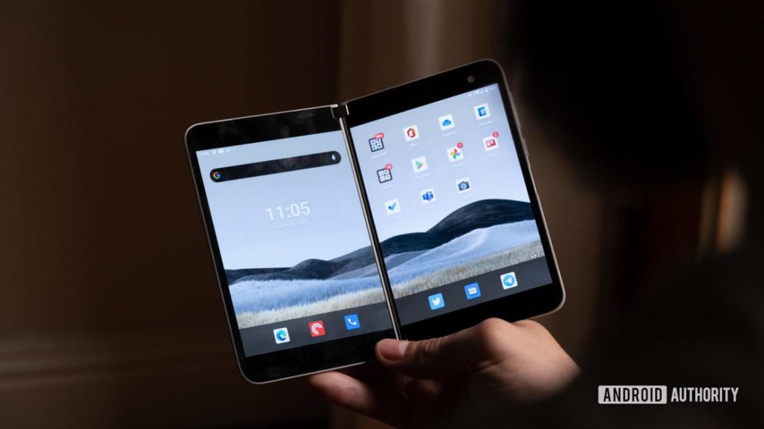 Microsoft Surface Duo open in hand screen