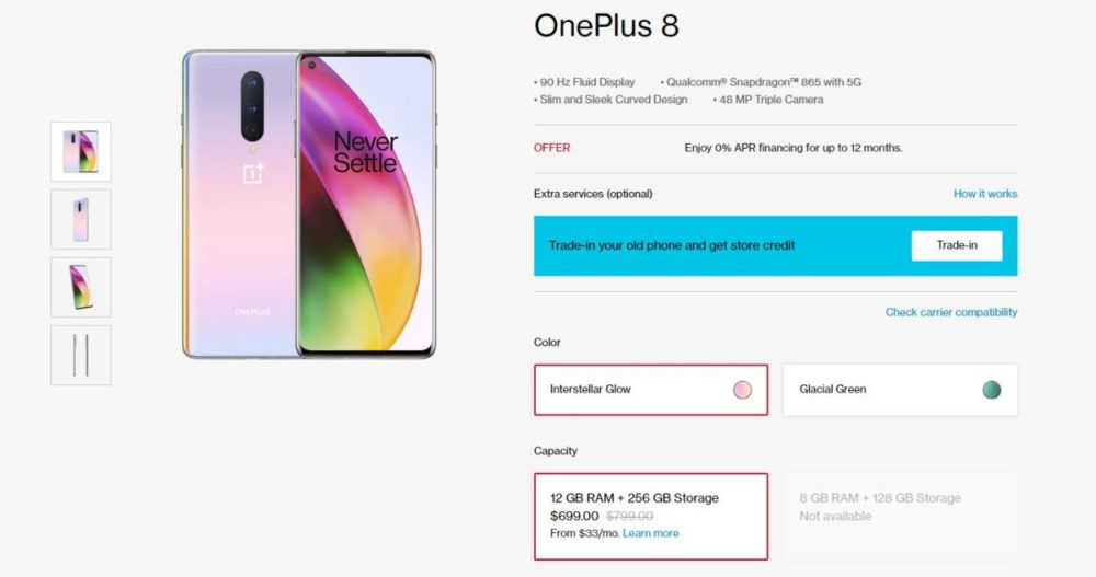 OnePlus 8 deal on OnePlus 8