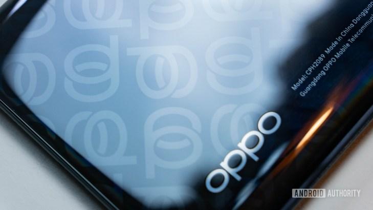 Oppo Reno 4 Pro 5G rear logo pattern close up