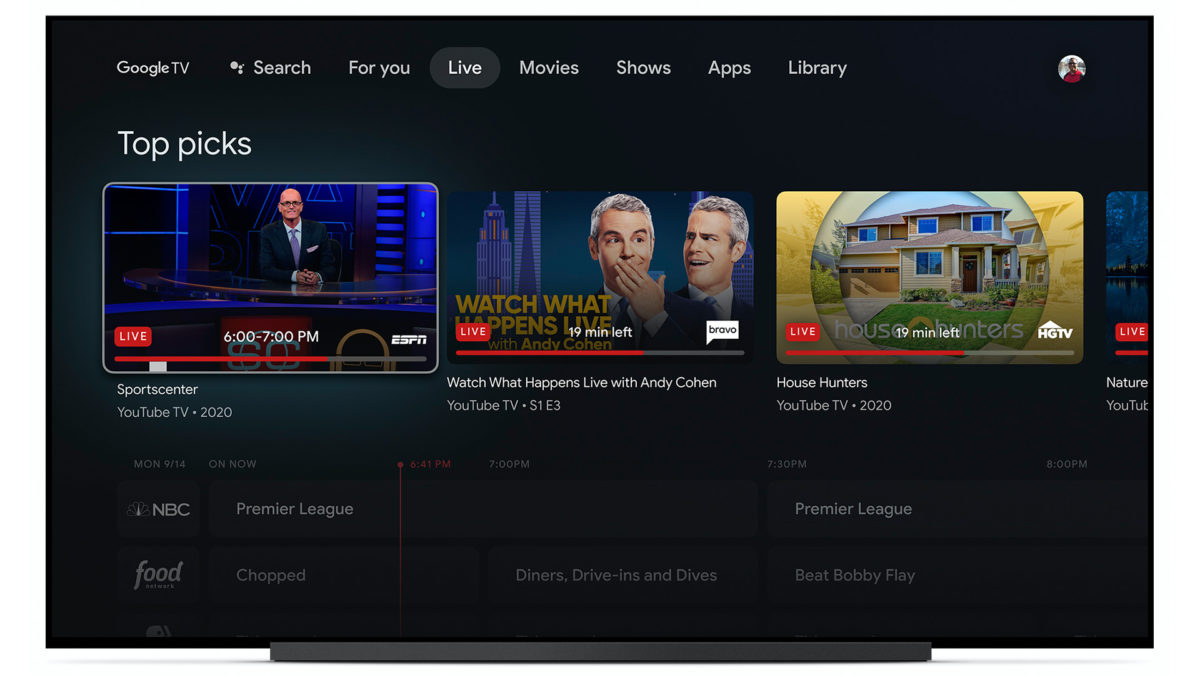 google tv live tab youtube streaming apps and services