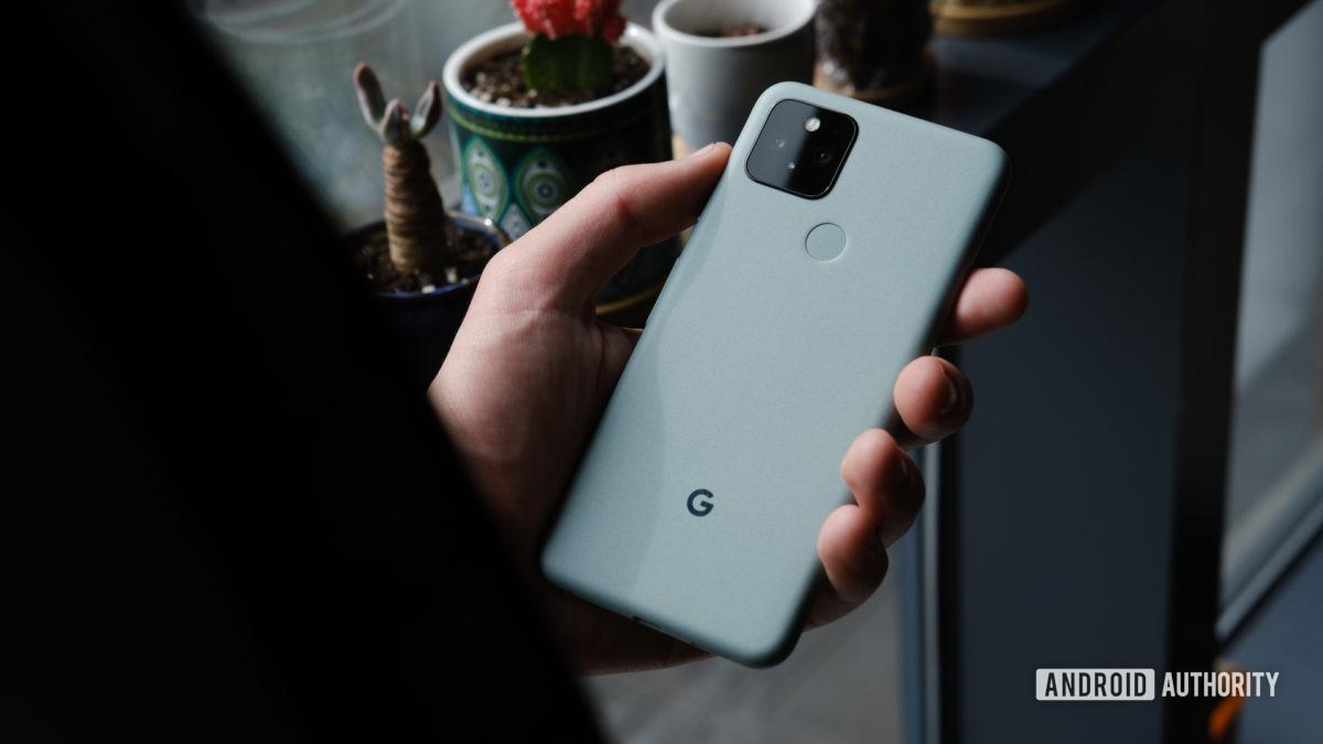 Google Pixel 5 in hand 6