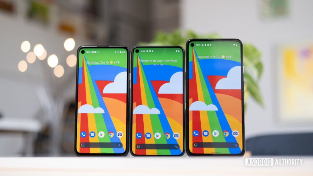 Google Pixel 5 Pixel 4A and Pixel 4A5G1 next to each other