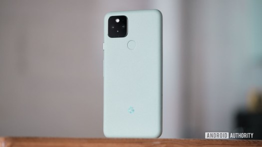 Google Pixel 5 standing up back on table 2