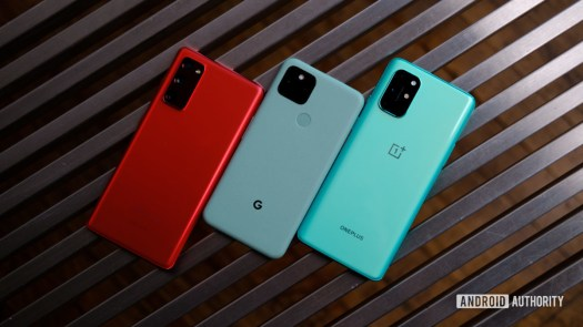 Google Pixel 5 vs Samsung Galaxy S20 FE vs OnePlus 8T back 1