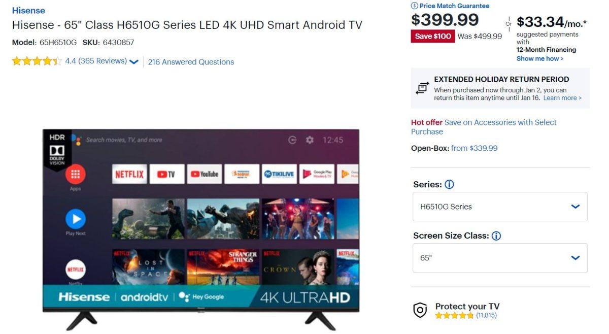 Hisense 65 polegadas Classe H6510G Série LED 4K UHD Smart Android TV Besty Buy Deal