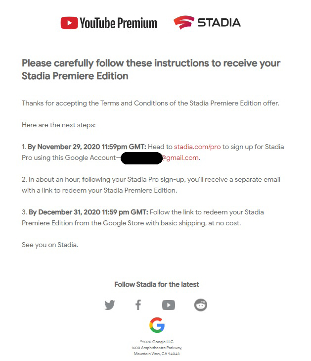 Предложение Stadia Pro