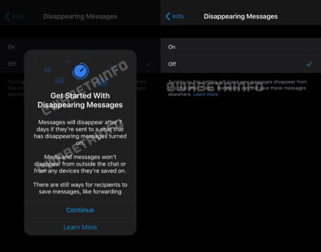 WABetaInfo WhatsApp Исчезающие сообщения