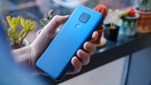 Moto G Play 2021 back of phone in hand