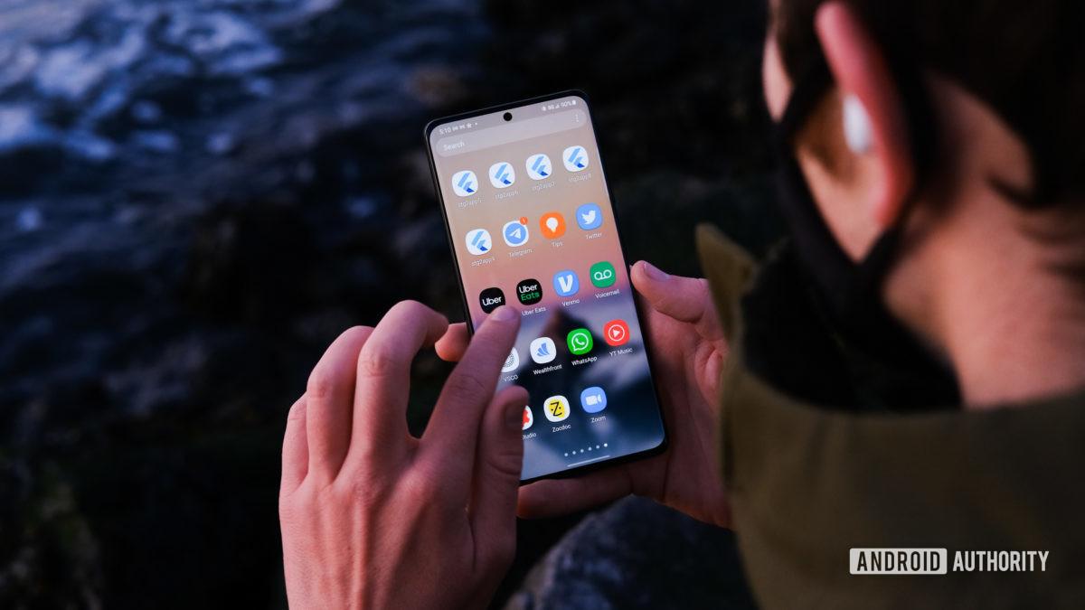 Панель запуска приложений Samsung Galaxy S21