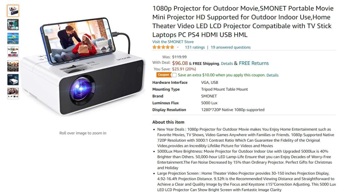 Oferta de projetor Mini HD Smonet