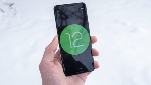 Android 12 logo on Google Pixel 3 1