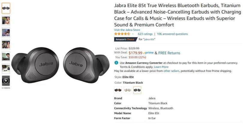 Jabra Elite 85t Earbuds Amazon headphones sales