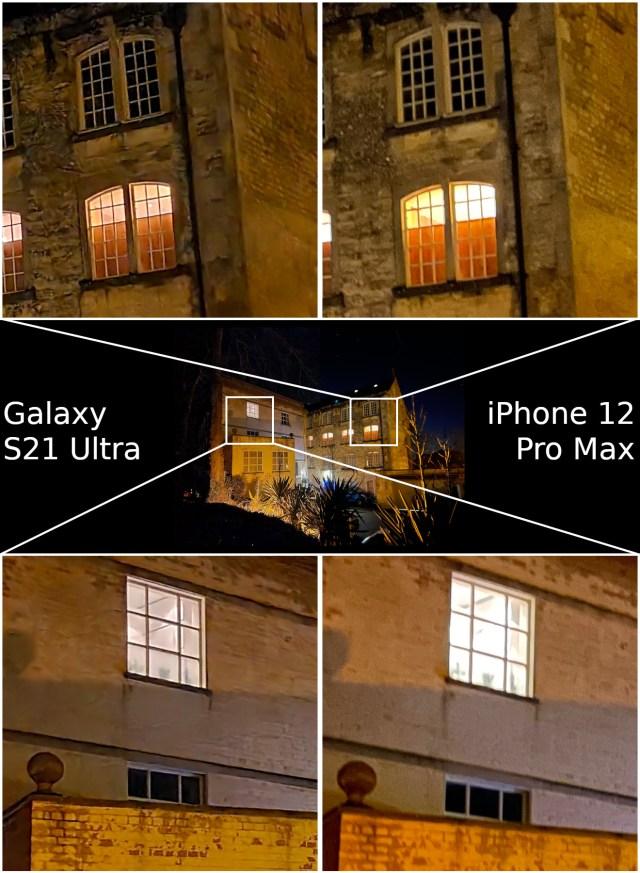 Night Mode Samsung Galaxy S21 Ultra vs Apple iPhone 12 Pro Max