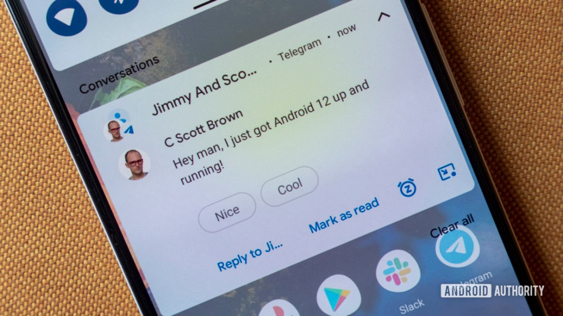 android 12 developer preview 1 group chat notification