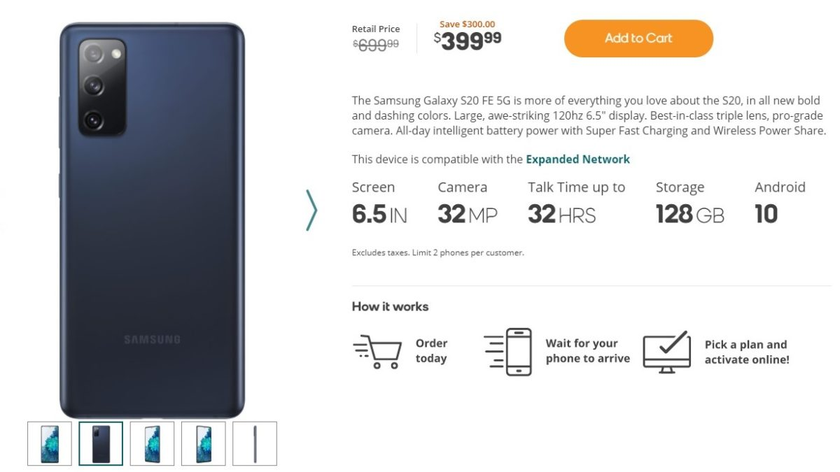 Samsung Galaxy S20 FE Boost Deal