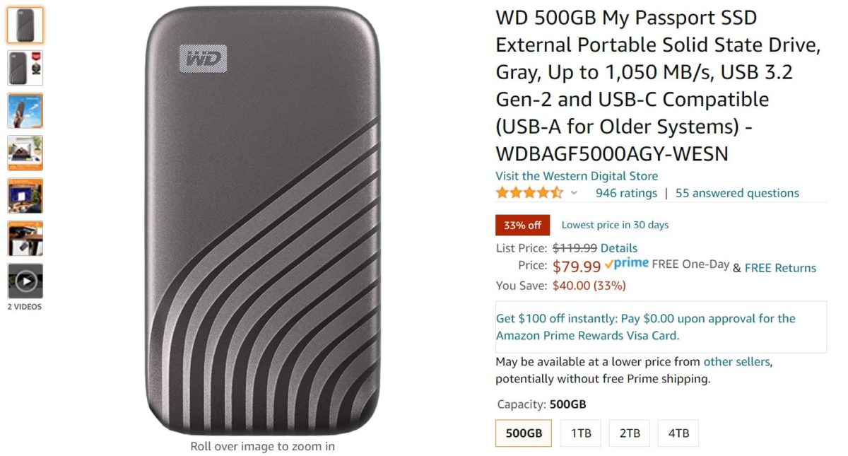 WD 500GB My Passport SSD External Portable Solid State Drive Amazon Deal