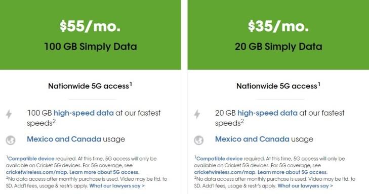 Cricket 100GB 55 Data Deal