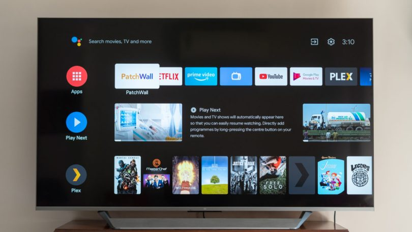 Mi QLED TV 75 front of the TV Android TV
