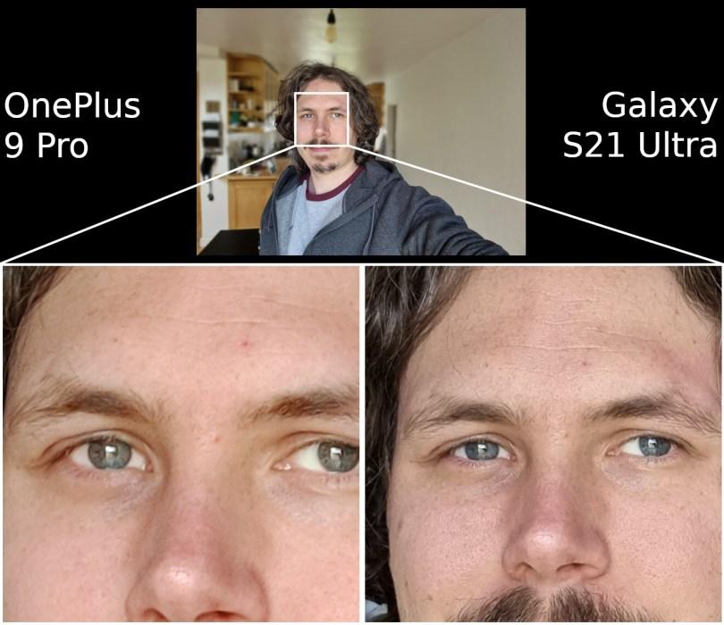 OnePlus 9 Pro vs Samsung Galaxy S21 Ultra camera selfie
