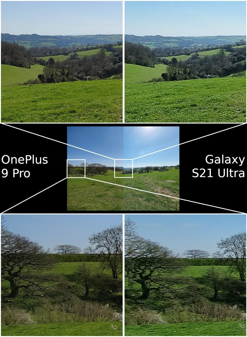 OnePlus 9 Pro vs Samsung Galaxy S21 Ultra camera wide