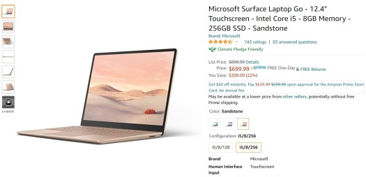 Microsoft Surface Laptop Go Amazon Deal