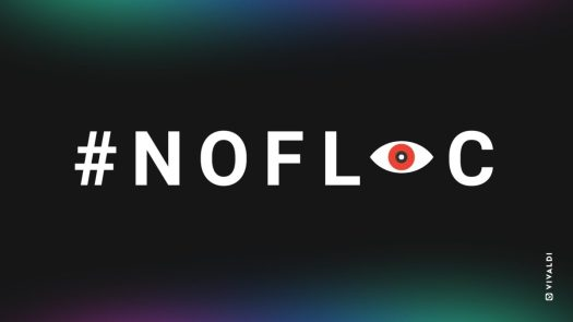#NoFLoC campaign by Vivaldi browser, showing the hashtag on a dark background