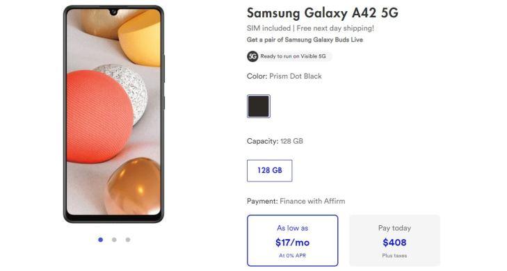 Samsung Galaxy A42 Visible Deal
