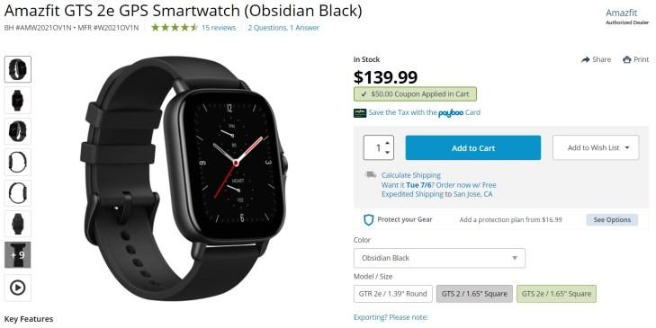 Amazfit GTS 2e GPS Smartwatch Deal