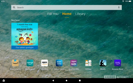 Amazon Fire HD 10 Plus home screen with app suggestion
