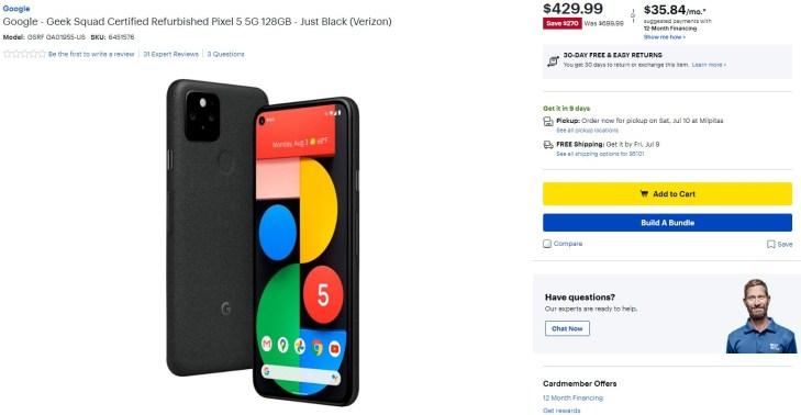 Geek Squad Certified Refurbished Pixel 5 Best Buy Deal