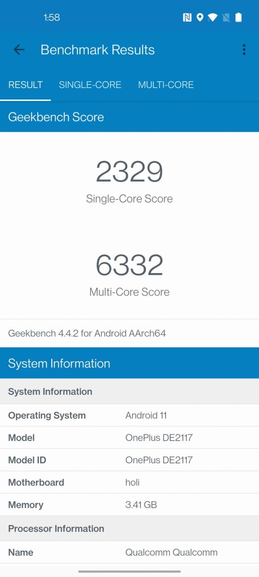 OnePlus Nord N200 5G Geekbench 4