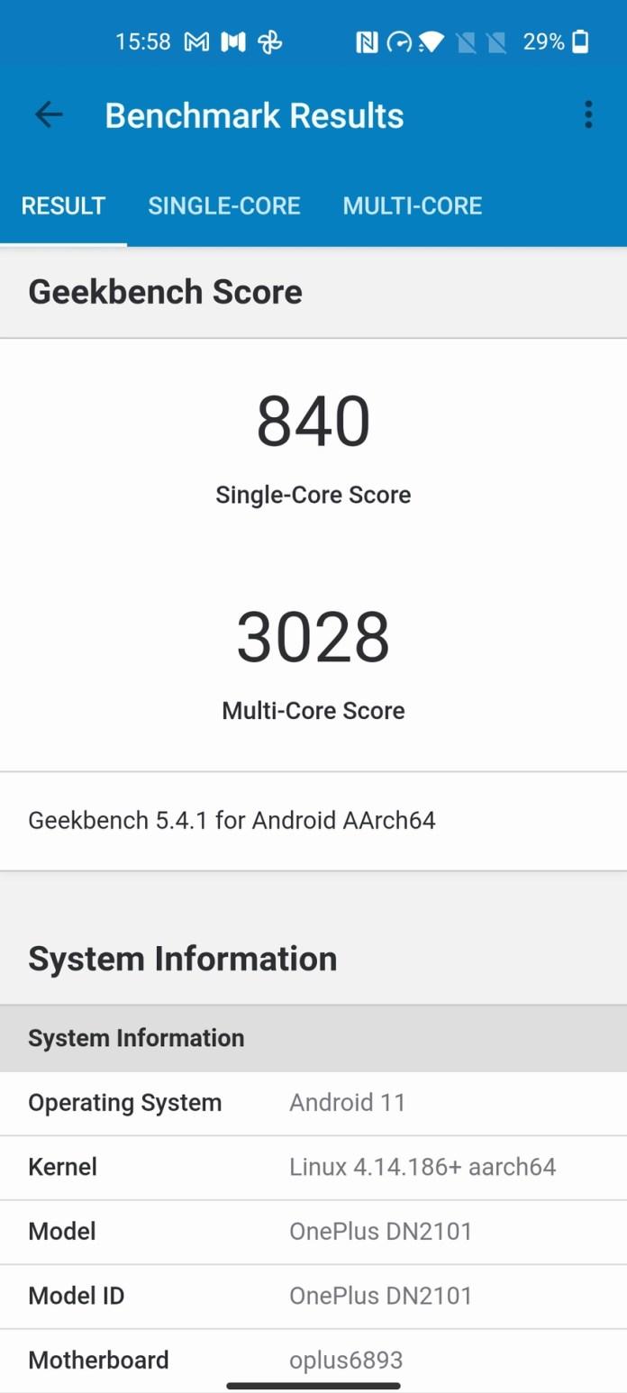 OnePlus Nord 2 geekbench