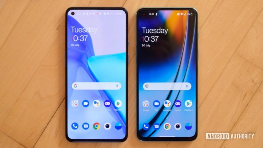 OnePlus Nord 2 vs OnePlus 9 smartphones from the front