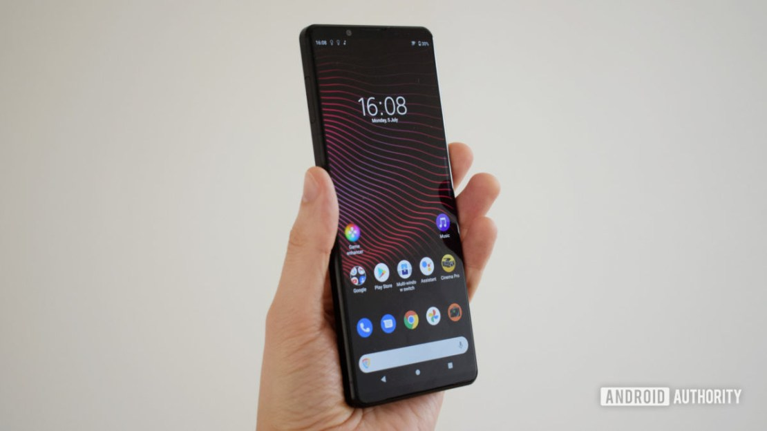 The Sony Xperia 1 III front showing the screen in hand.