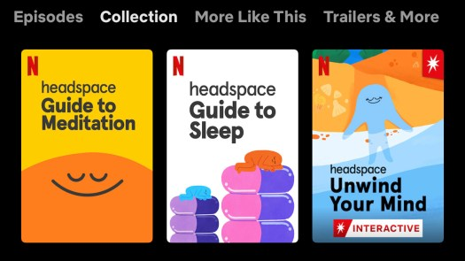 A screenshot from Netflix displays the Headspace content available for streaming.