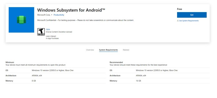 Subsistema Windows Store da Microsoft para Android