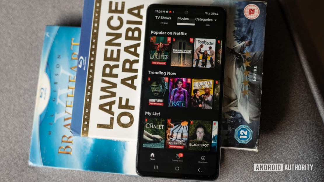 Samsung Galaxy A52s 5G display on with Netflix content
