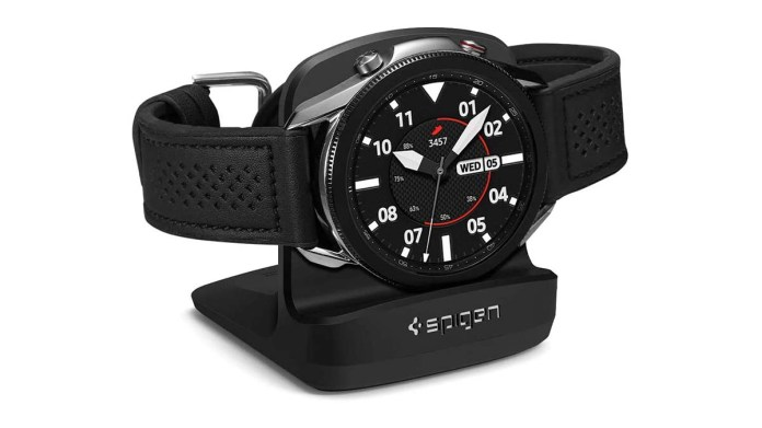 Product shot of the Spigen Galaxy Watch stand.