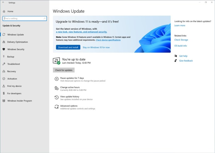 Windows 11 update available