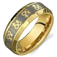 Gold Female Symbols Lesbian Wedding Ring Band Promise Ring ...
