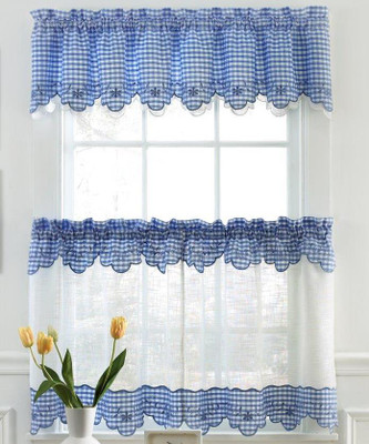 Provence Gingham Kitchen Curtains Available In Blue Red Black