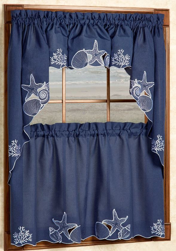 bulk kitchen towels inexpensive remodels sanibel seashells blue curtains - linens4less.com