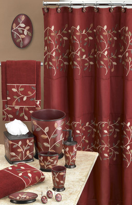 Aubury Shower Curtain  Bathroom Accessories  Burgundy