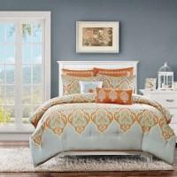 Orange & Grey Updated Paisley Comforter Set AND Decorative ...