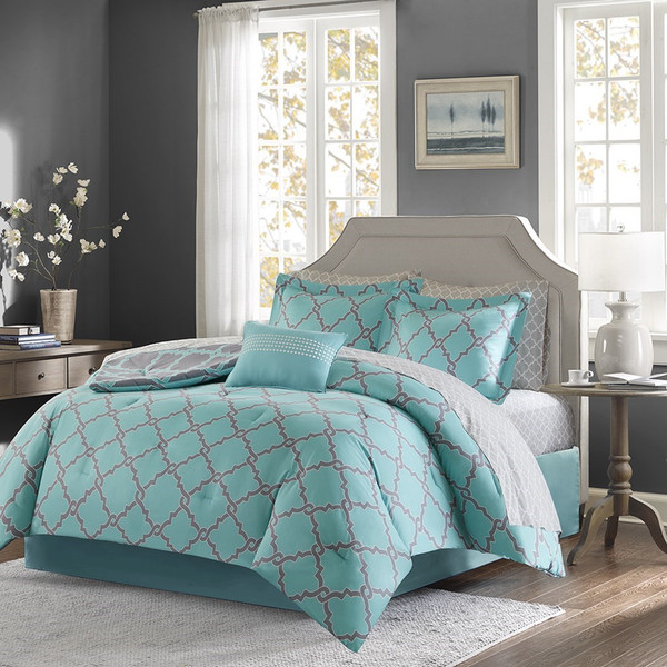Aqua Amp Grey Reversible Fretwork Comforter Set AND Matching Sheet Set Merritt AquaGrey