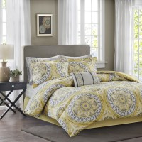 Yellow & Grey Oversize Medallions Comforter Set AND