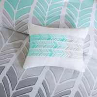 Aqua Blue Grey & White Geometric Chevron Comforter Set AND ...