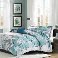 Antique Blue Grey & White Floral Comforter Set AND ...